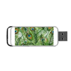 Peacock Feathers Pattern Portable Usb Flash (two Sides) by Simbadda