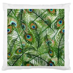 Peacock Feathers Pattern Standard Flano Cushion Case (two Sides) by Simbadda