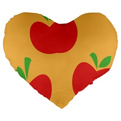 Apple Fruit Red Orange Large 19  Premium Flano Heart Shape Cushions by Alisyart