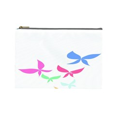Colorful Butterfly Blue Red Pink Brown Fly Leaf Animals Cosmetic Bag (large)  by Alisyart