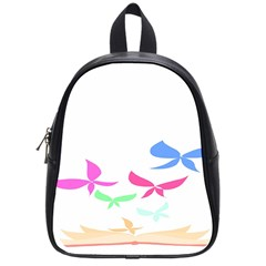 Colorful Butterfly Blue Red Pink Brown Fly Leaf Animals School Bags (small)  by Alisyart