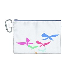 Colorful Butterfly Blue Red Pink Brown Fly Leaf Animals Canvas Cosmetic Bag (m) by Alisyart