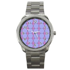 Demiregular Purple Line Triangle Sport Metal Watch by Alisyart