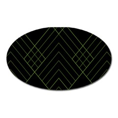 Diamond Green Triangle Line Black Chevron Wave Oval Magnet by Alisyart