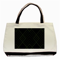 Diamond Green Triangle Line Black Chevron Wave Basic Tote Bag (two Sides) by Alisyart