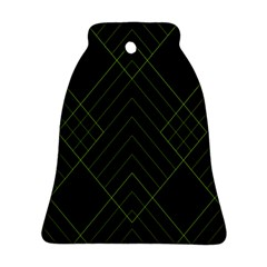 Diamond Green Triangle Line Black Chevron Wave Bell Ornament (two Sides) by Alisyart