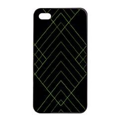 Diamond Green Triangle Line Black Chevron Wave Apple Iphone 4/4s Seamless Case (black) by Alisyart