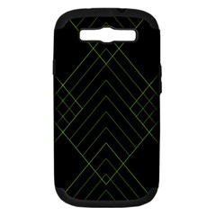 Diamond Green Triangle Line Black Chevron Wave Samsung Galaxy S III Hardshell Case (PC+Silicone) by Alisyart