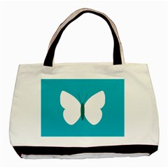 Little Butterfly Illustrations Animals Blue White Fly Basic Tote Bag (two Sides) by Alisyart
