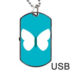 Little Butterfly Illustrations Animals Blue White Fly Dog Tag USB Flash (Two Sides) by Alisyart