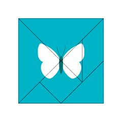 Little Butterfly Illustrations Animals Blue White Fly Acrylic Tangram Puzzle (4  X 4 ) by Alisyart