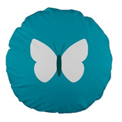 Little Butterfly Illustrations Animals Blue White Fly Large 18  Premium Flano Round Cushions by Alisyart