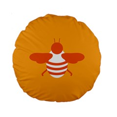 Littlebutterfly Illustrations Bee Wasp Animals Orange Honny Standard 15  Premium Round Cushions by Alisyart