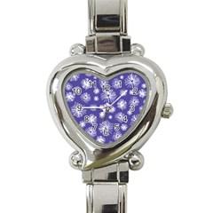 Aztec Lilac Love Lies Flower Blue Heart Italian Charm Watch by Alisyart