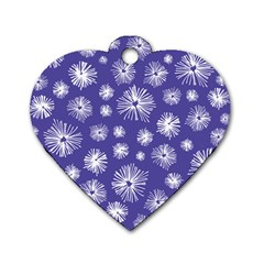 Aztec Lilac Love Lies Flower Blue Dog Tag Heart (one Side) by Alisyart