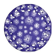 Aztec Lilac Love Lies Flower Blue Ornament (round Filigree) by Alisyart