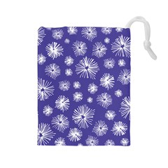 Aztec Lilac Love Lies Flower Blue Drawstring Pouches (large)  by Alisyart