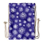 Aztec Lilac Love Lies Flower Blue Drawstring Bag (Large) Front