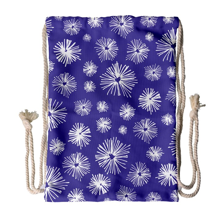 Aztec Lilac Love Lies Flower Blue Drawstring Bag (Large)
