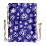 Aztec Lilac Love Lies Flower Blue Drawstring Bag (Large) Back