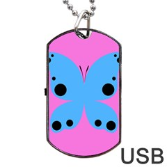 Pink Blue Butterfly Animals Fly Dog Tag Usb Flash (two Sides)