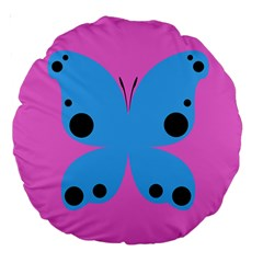 Pink Blue Butterfly Animals Fly Large 18  Premium Round Cushions by Alisyart