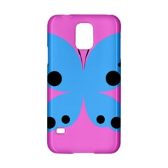Pink Blue Butterfly Animals Fly Samsung Galaxy S5 Hardshell Case  by Alisyart