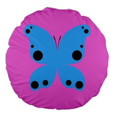 Pink Blue Butterfly Animals Fly Large 18  Premium Flano Round Cushions by Alisyart