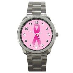 Pink Breast Cancer Symptoms Sign Sport Metal Watch by Alisyart