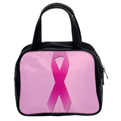 Pink Breast Cancer Symptoms Sign Classic Handbags (2 Sides) by Alisyart