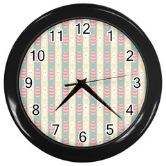 Rabbit Eggs Animals Pink Yellow White Rd Blue Wall Clocks (black) by Alisyart
