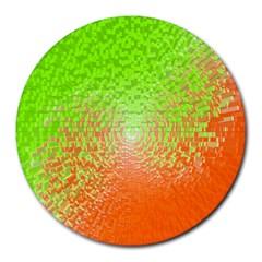 Plaid Green Orange White Circle Round Mousepads by Alisyart