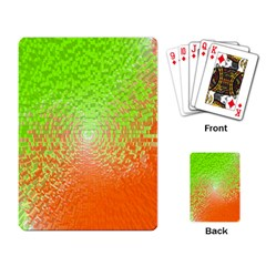 Plaid Green Orange White Circle Playing Card by Alisyart