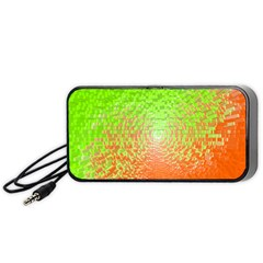 Plaid Green Orange White Circle Portable Speaker (black) by Alisyart