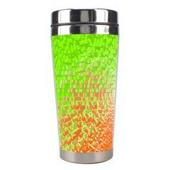 Plaid Green Orange White Circle Stainless Steel Travel Tumblers by Alisyart
