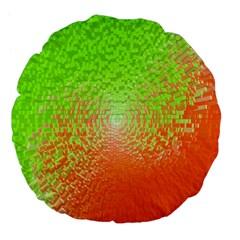 Plaid Green Orange White Circle Large 18  Premium Flano Round Cushions by Alisyart