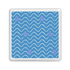 Springtime Wave Blue White Purple Floral Flower Memory Card Reader (square)  by Alisyart