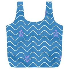 Springtime Wave Blue White Purple Floral Flower Full Print Recycle Bags (l)  by Alisyart