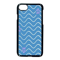 Springtime Wave Blue White Purple Floral Flower Apple Iphone 7 Seamless Case (black) by Alisyart