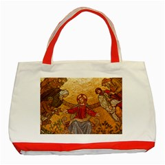 Gold Jesus Classic Tote Bag (red) by boho