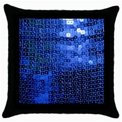 Blue Sequins Throw Pillow Case (black) by boho