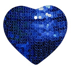 Blue Sequins Heart Ornament (two Sides) by boho