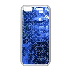 Blue Sequins Apple Iphone 5c Seamless Case (white) by boho