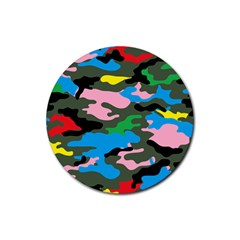 Rainbow Camouflage Rubber Round Coaster (4 Pack)  by boho