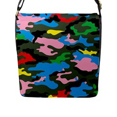 Rainbow Camouflage Flap Messenger Bag (l)  by boho