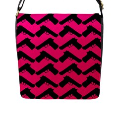 Pink Gun Flap Messenger Bag (l)  by boho