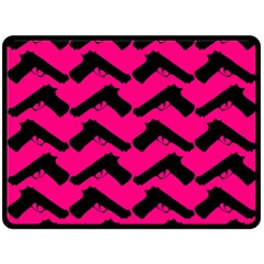 Pink Gun Double Sided Fleece Blanket (large)  by boho