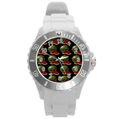 Black Watermelon Round Plastic Sport Watch (l) by boho