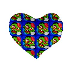Zombies Standard 16  Premium Flano Heart Shape Cushions by boho