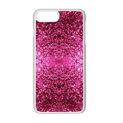 Pink Glitter Apple Iphone 7 Plus White Seamless Case by boho